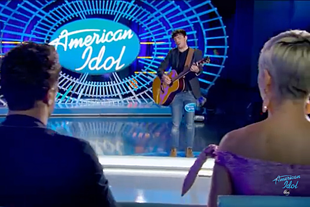 With judges Luke Bryan and Katy Perry looking on, Santa Barbara resident Jackson Gillies performs.