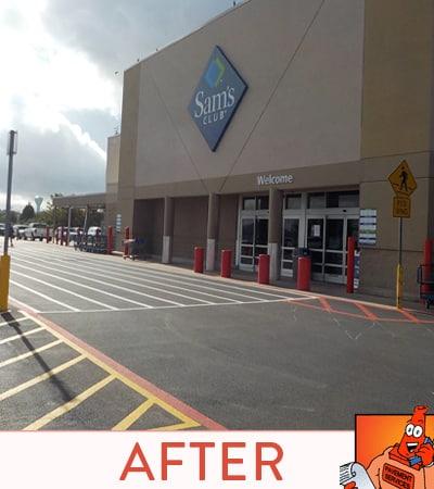 After Asphalt Resurface for commercial storefront in Friendswood, TX