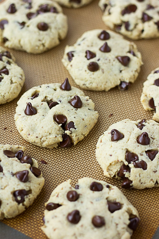 Vegan Gluten Free Chocolate Chip Cookies on a baking sheet