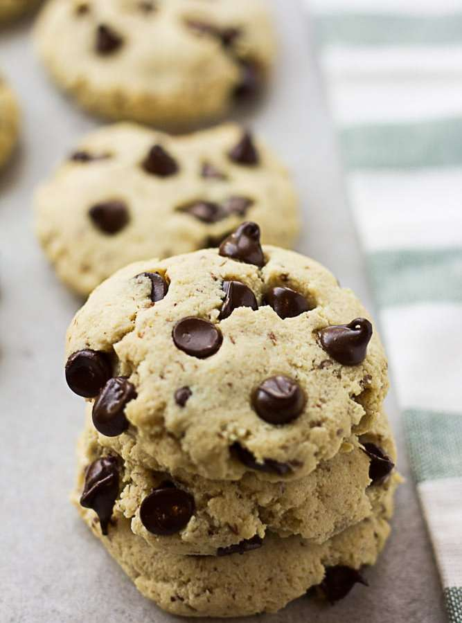 close up of Vegan Gluten Free Chocolate Chip Cookies