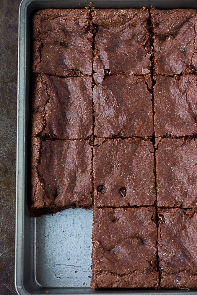 Brownies cut in the pan