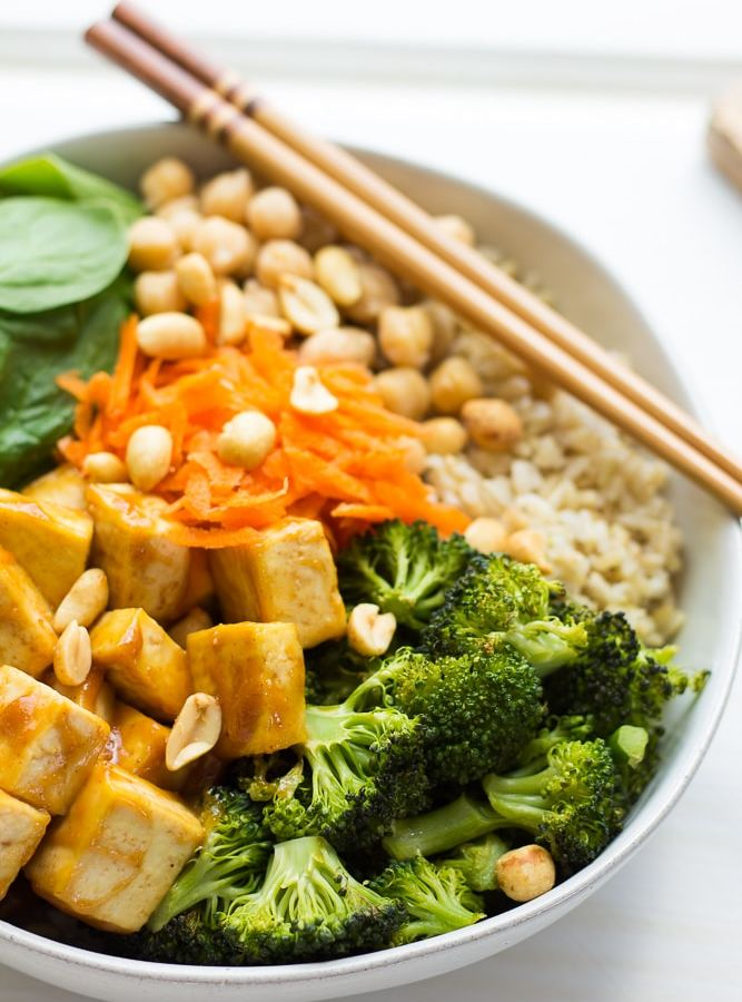 Peanut Tofu Buddha Bowl with Roasted Broccoli
