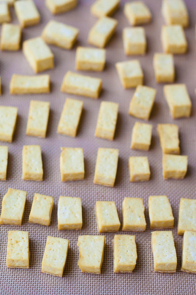 crispy baked tofu for peanut tofu buddha bowl