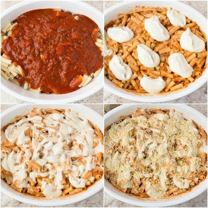 collage of process of making vegan baked ziti