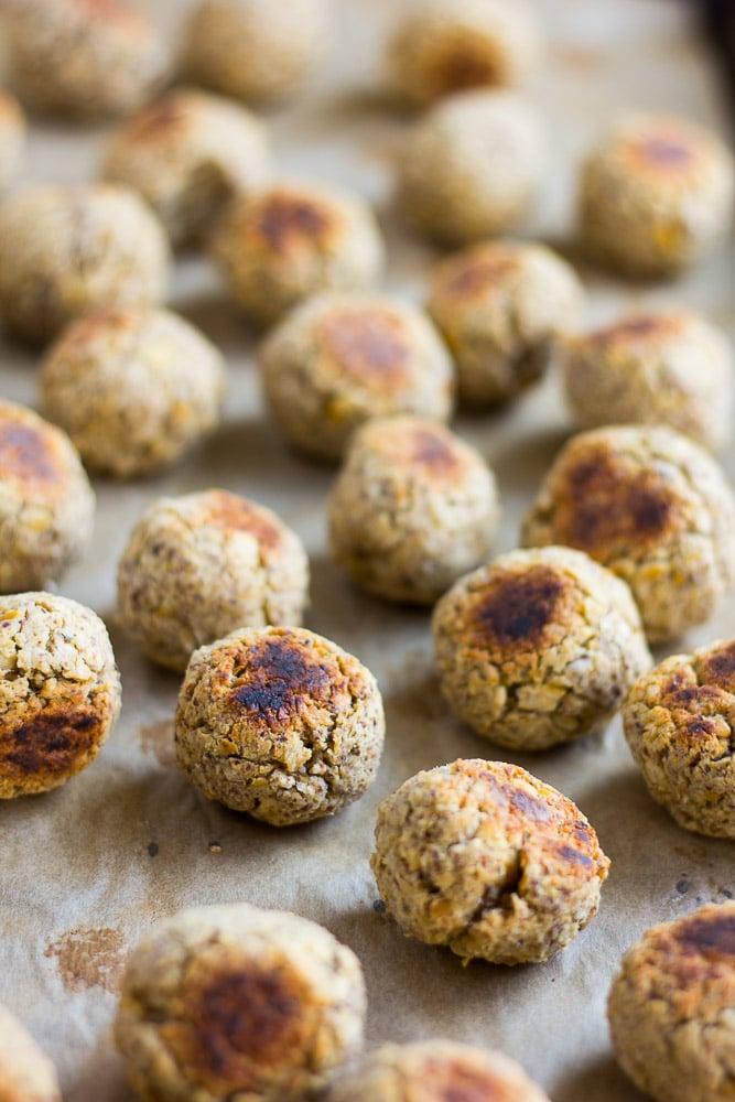 Spaghetti and Vegan Meatballs- Chickpea based italian vegan meatballs. Kid-friendly, comfort food classic!