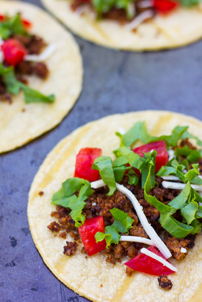 Cauliflower Walnut Mushroom Tacos- Vegan, GF taco meat made from cauliflower, walnuts and mushrooms!