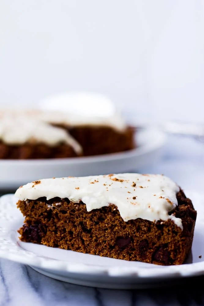 Piece of Oil-free Chocolate Cake with Cashew Frosting