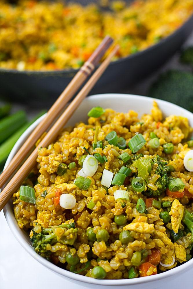 side shot of golden fried rice