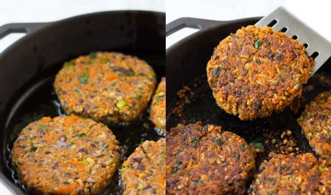 collage of veggie burgers being fried in a pan