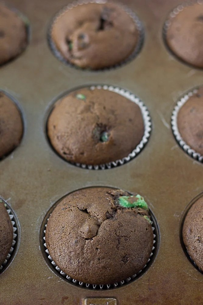 unfrosted cupcakes in the pan