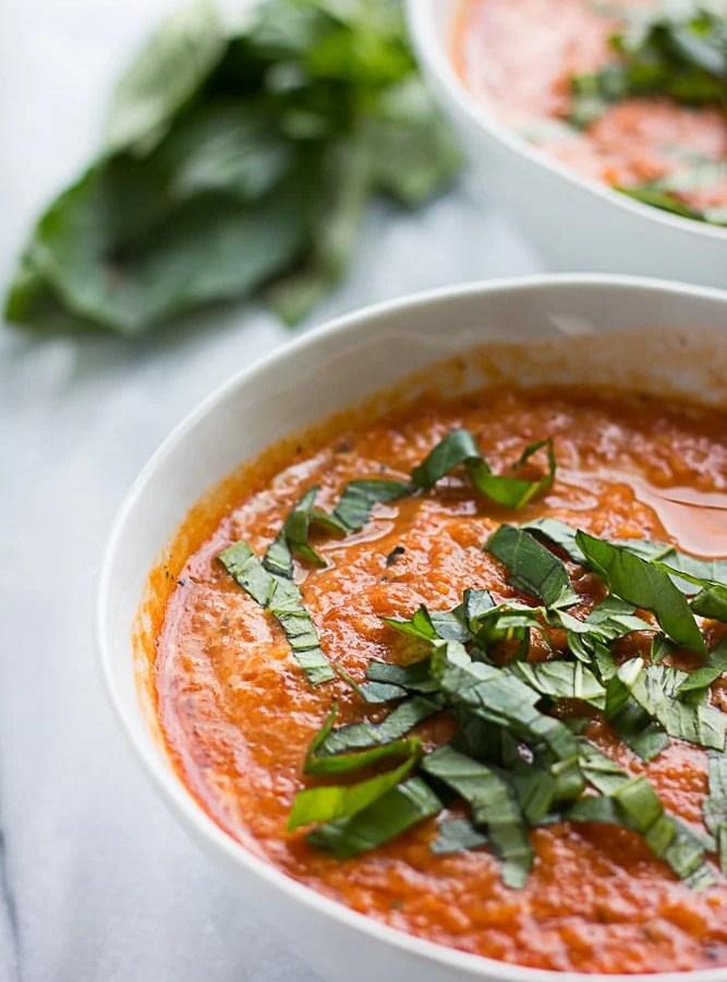 close of vegan tomato soup