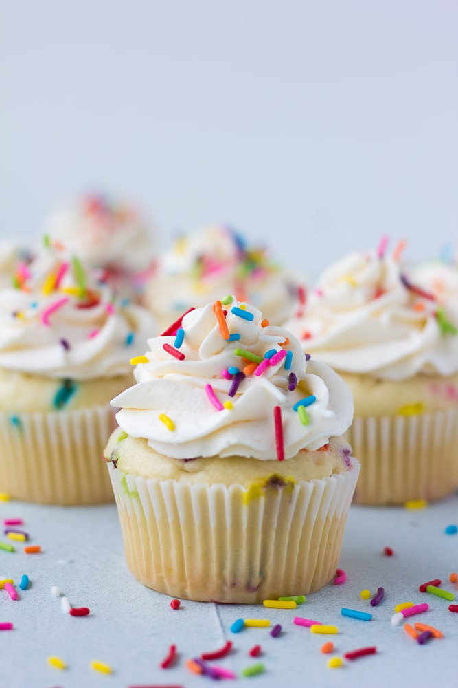 straight on shot of funfetti vegan cupcakes