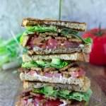 stack of vegan blt sandwiches