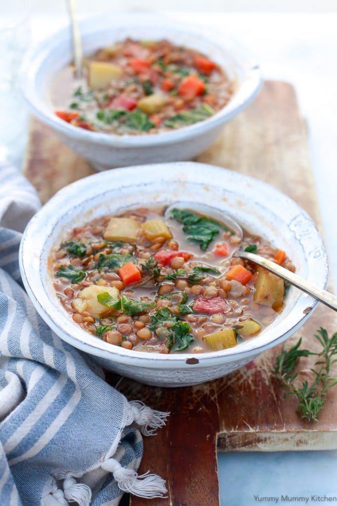 lentil soup in bowls