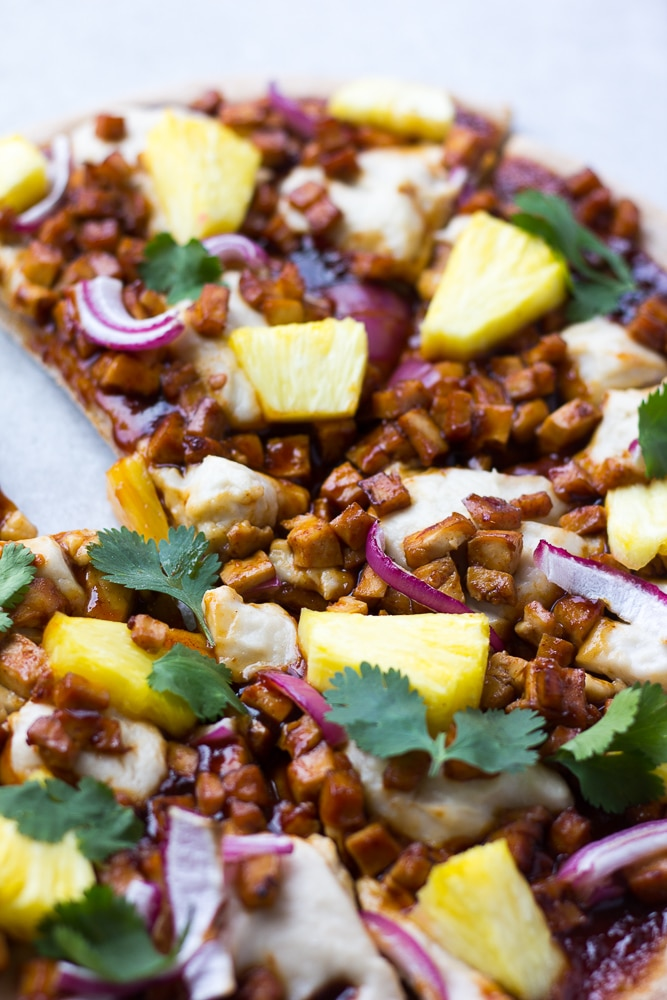 vegan pizza with pineapple and barbecue tofu