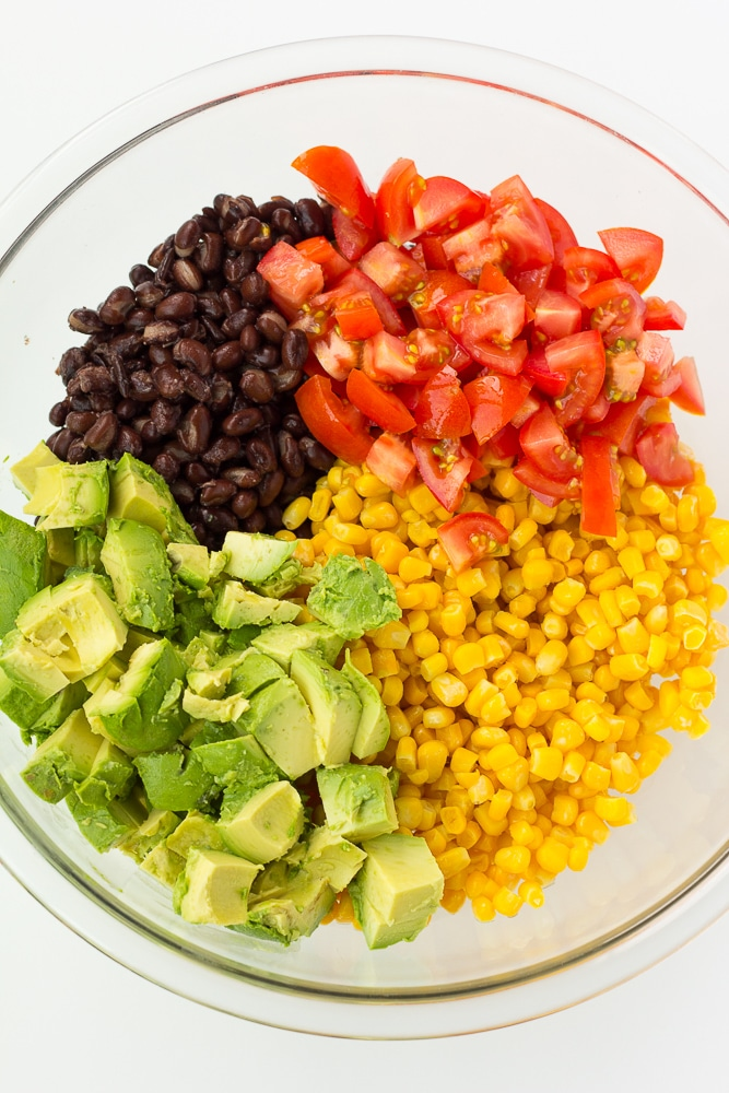 ingredients for black bean corn avocado salad