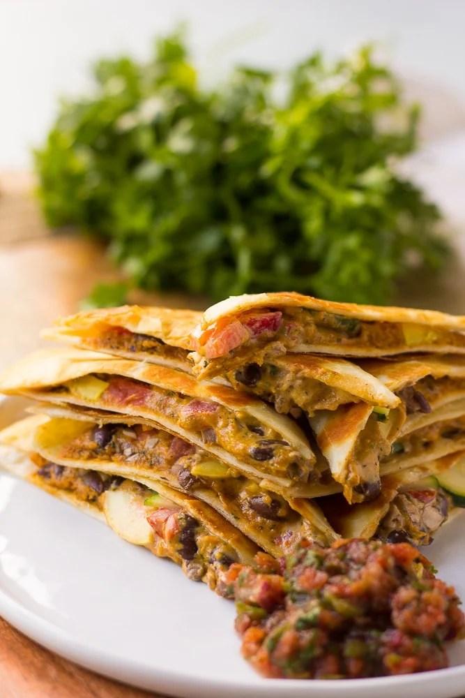 vegan quesadillas stacked