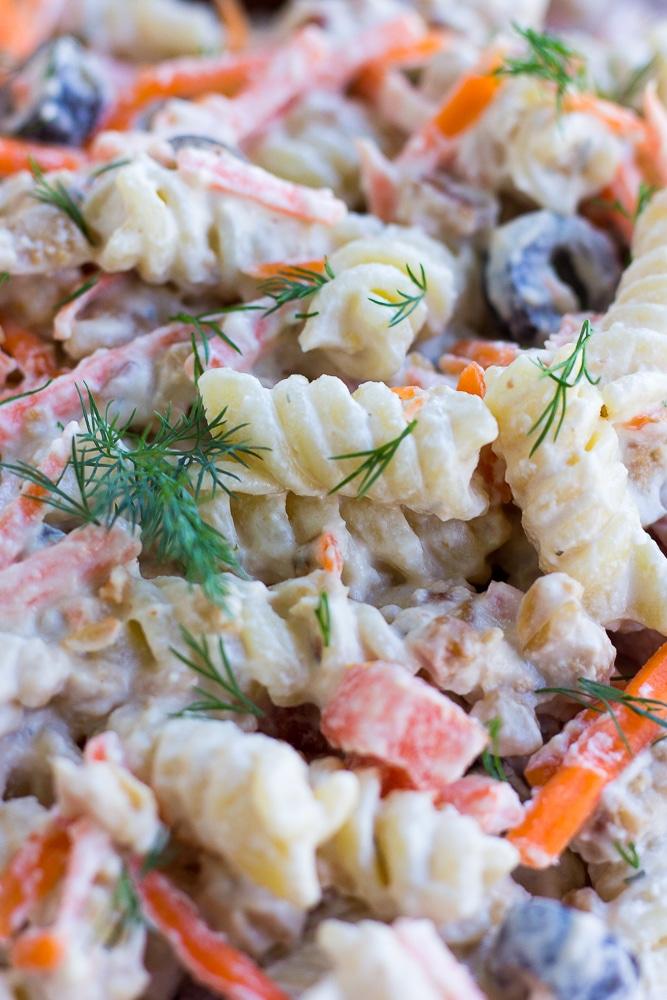 close up of bacon ranch vegan pasta salad