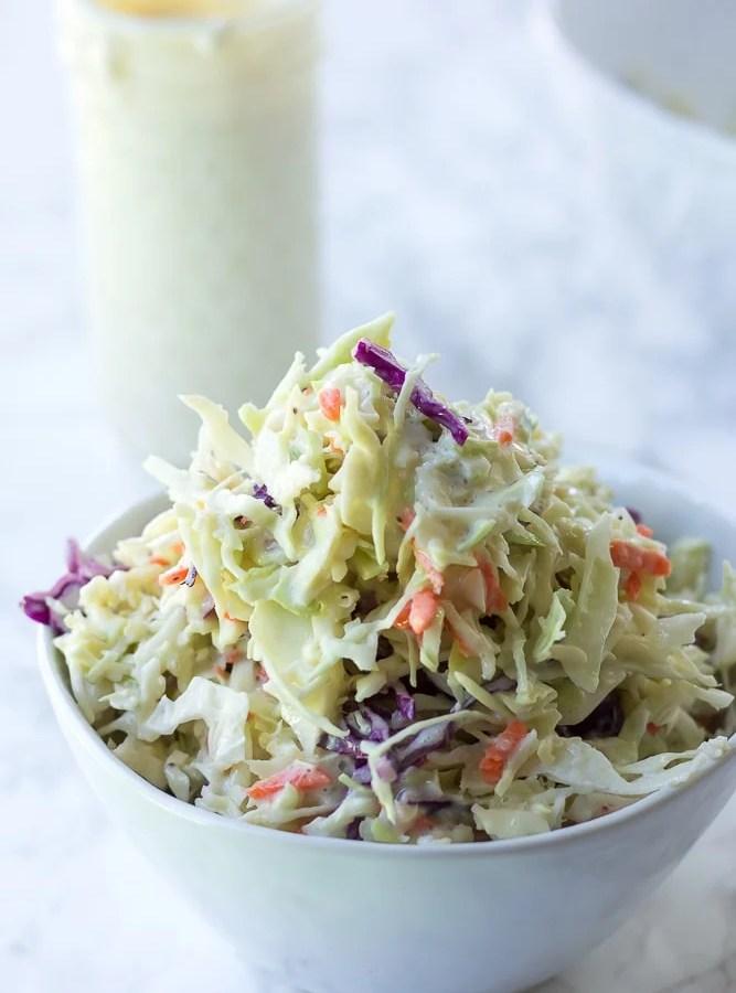 vegan coleslaw in a bowl