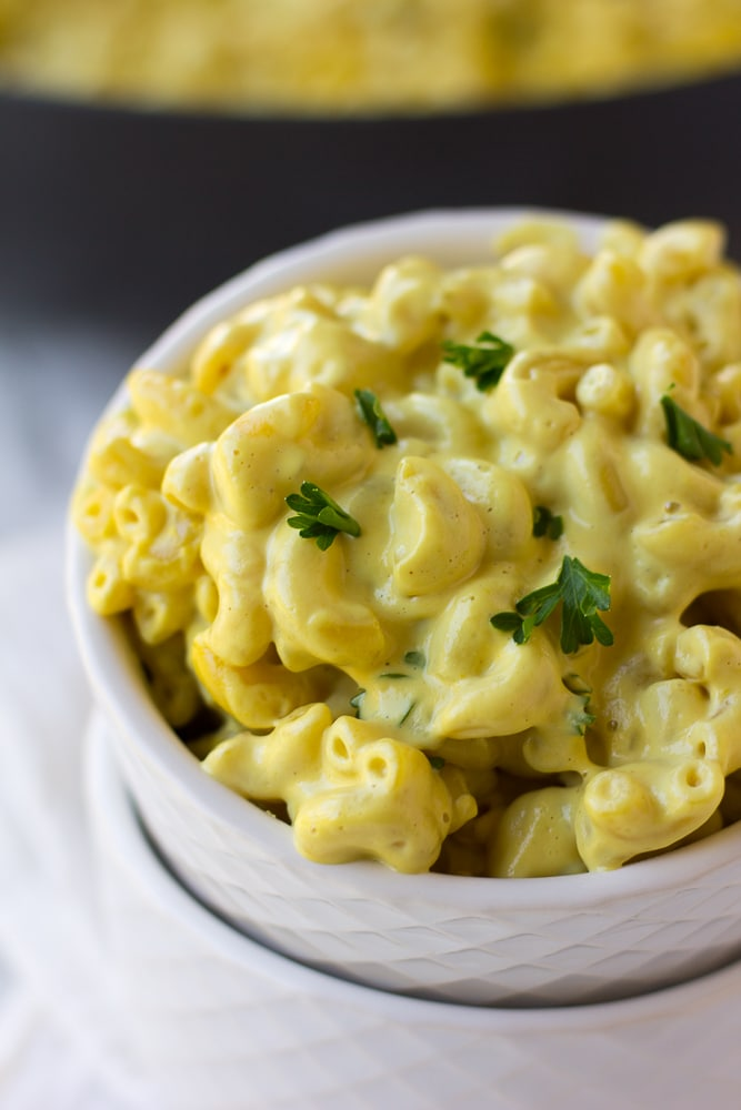 close up of vegan mac and cheese recipe in a small bowl