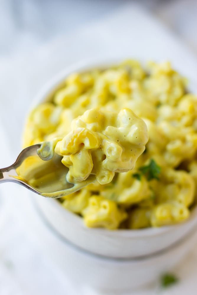 vegan mac and cheese recipe on a fork
