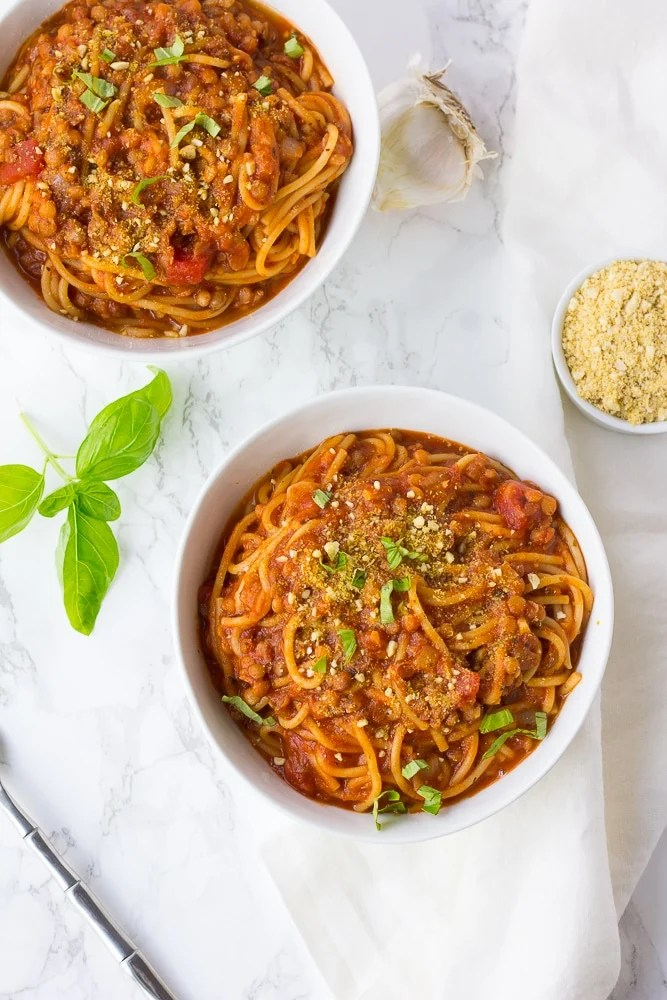 2 bowls of instant pot spaghetti