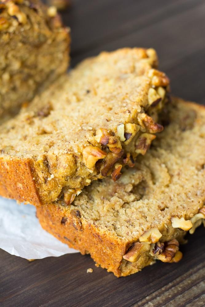 vegan banana bread sliced close up shot