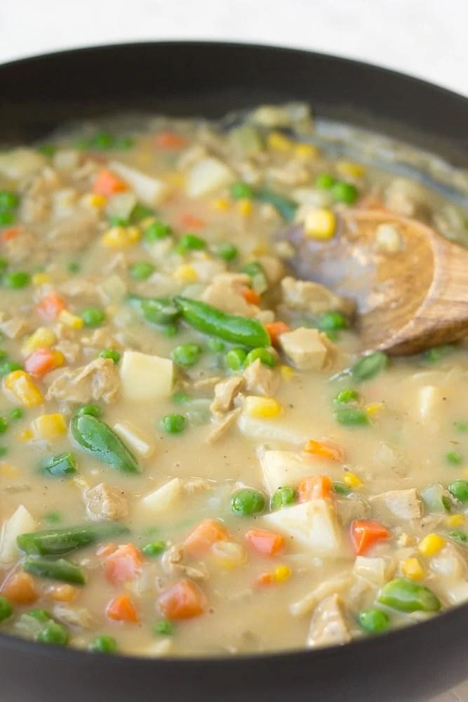 filling for vegan pot pie in a pan