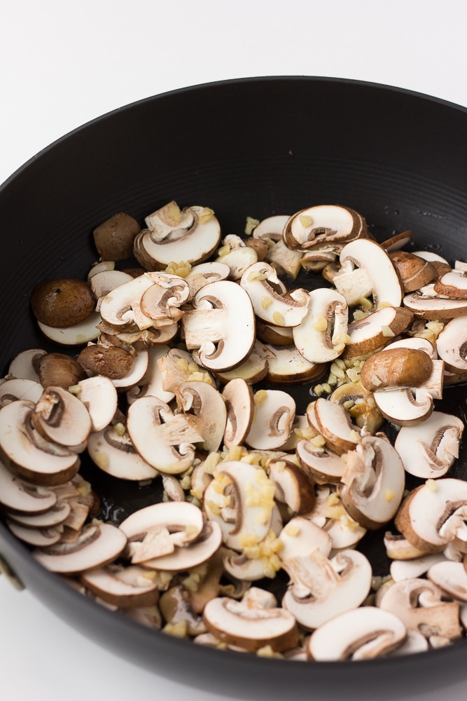mushrooms cooking for vegan green bean casserole
