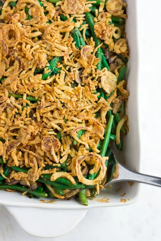 vegan green bean casserole in casserole dish
