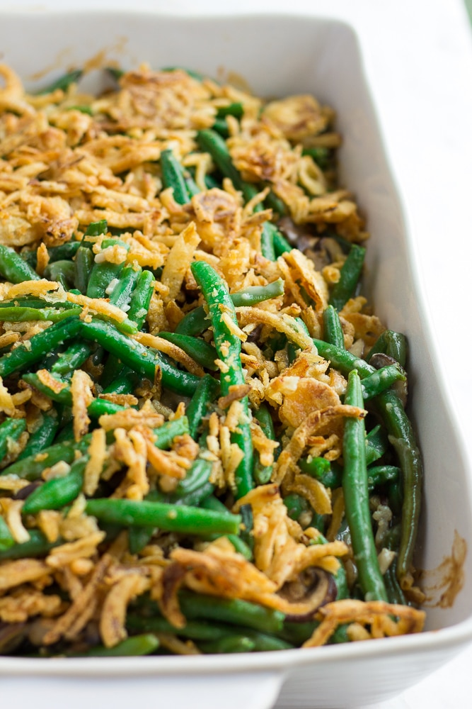 vegan green bean casserole close up