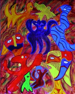344 Opstand van Octopus, 2012, 80 x 100, acryl, 550,-