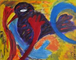 425 Paarse Vogel, 2013 80 x 100 acryl op doek