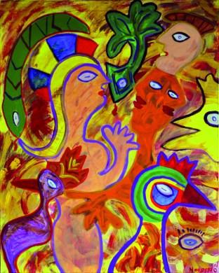 354 Vrouw met minnaars, 2002, 100 x 80, acryl