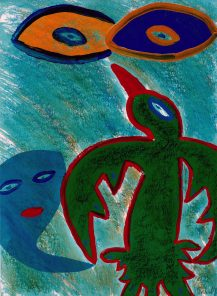 176 Groene Vogel, 1999, 59 x 74