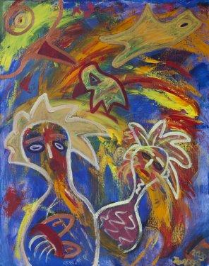 215 Zingende Vrouwen, 2000, 80 x 100 cm, acryl, 550,-