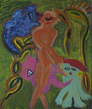 421 Dansfeest bij Avondrood, 2011, 60 x 70 cm, olie