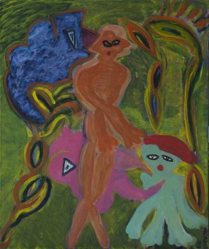 421 Dansfeest bij Avondrood, 2011, 60 x 70 cm, olie, 350,-