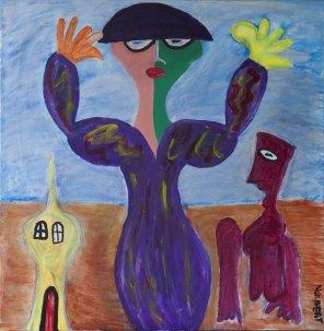 429 Vrouw in Leegte, 2015, 100 x 100 cm, acryl, 650,-