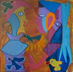 309 De Geliefden, 2001, 100 x 100 cm, acryl, 650,-