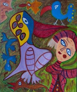 334 Flirt met Pelikaan, 2001, 100 x 120 cm, acryl, 550,-