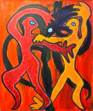 131 Dansen rond Boom, 1997 100 x 120, olie