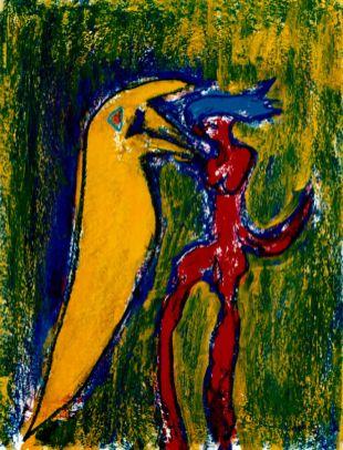 142 Figuren Rood en Geel, 1997, 83 x 63, gemengd, 400,-