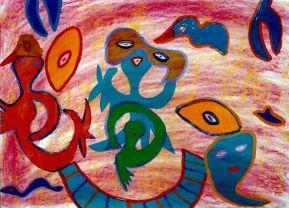 178 Rode Zee 2, 1999, 80 x 100, gemengd, verkocht