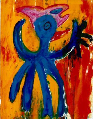 182 Blauwe Vogel met Vis 1, 1999, 83 x 63, gemengd, 400,-