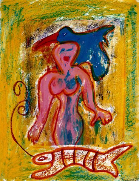 187 Vrouw met Vis en Vogel, 1999, 83 x 63, gemengd, 400,-