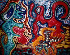 41 Vredeskus, 1995, 100 x 80 cm, olie, 550,-
