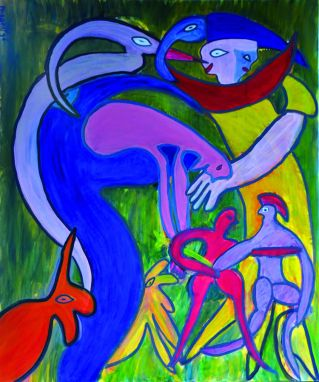 85 Het Gezin, 1996 120 x 100 olieverf