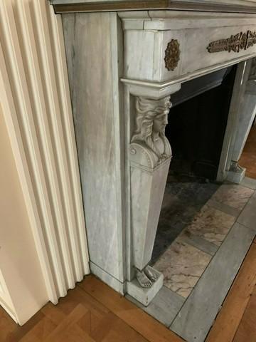 marbre bleu turquin cheminee ancienne