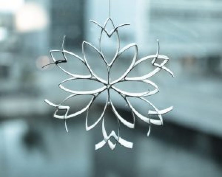 DIY christmas star decoration zero waste ornament from toilet paper rolls step 12